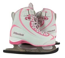 Riedell Girls Youth Pink & White Lace Up Ice Skates Figure Skates Sz 8 Strap
