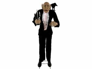 Animated Life Size Butler Halloween Prop Haunted House Raven Crow Talking 6 Ft