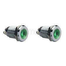 "2 Pcs 12mm 1/2"" Green 12V LED Metal Indicator Pilot Dash Light Lamp"