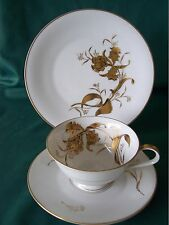 Germany H & C Heinrich China Cup Saucer & Plate Set Golden Orchid pattern