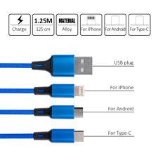 3 en 1 Multi USB Cargador De Teléfono Cable Trenzado para iPhone Android 4 Colores