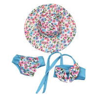 Fashion Floral Bowknot Swimsuit & Hat For Doll Toy Gift Clothes O7X3