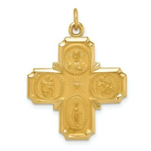 14k 14kt Yellow Gold Solid Polished/Satin Medium 4-Way Medal PENDANT
