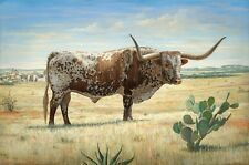"REALISTIC TEXAS LONGHORN SAN ANTONIO 1850 SIGNED 13"" X 19"" PRINT by LEE CASBEER"