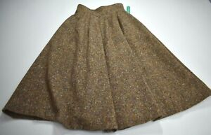 Cacharel Womens Back Button Seam Pocket Wool Knit Pleated A-Line Skirt 40/8