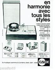 PUBLICITE ADVERTISING 115  1964  CLAUDE tourne-disques Super coffret Séléctophon