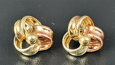 Pretty 9ct White, yellow and rose Gold twist design earrings