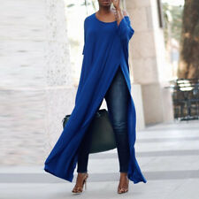 ZANZEA Women Off The Shoulder Casual High Split Crop Tops Long Maxi Shirt Blouse