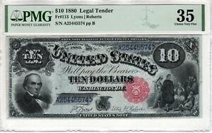 1880 $10 LEGAL TENDER NOTE JACKASS FR.113 LYONS ROBERTS PMG CH VERY FINE VF 35