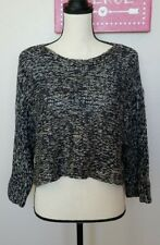 Eileen The Fisher Project Sweater Black Tan Linen Wool Polyamid XS Extra Small