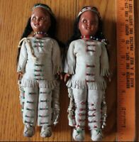 2 Vintage Pocahontas Doll Leather Clothes Glass Beads Moccasins Sleep Eye 7-1/4""