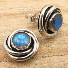 Labradorite Gems Small Studs Earrings 925 Silver Plated ! Gift Store For Love