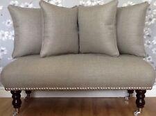 Long Footstool Stool & 4 Cushions In Laura Ashley Dalton French Grey Fabric