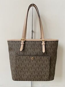 MICHAEL Michael Kors Jet Set Medium Snap Pocket Signature Shoulder Tote Handbag