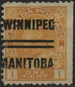 Canada (Winnipeg-3-105) 1c yellow KGV admiral style 3 Precancel (105xx)