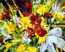 30 x 24 Art Flowers Ceramic Tile Mural Kitchen Bath Decor #192