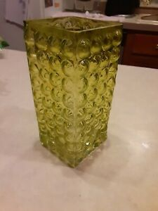 Beautiful Mid Century Modern Yellow Bubble Glass Tall Square Vase