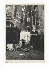 Ca. 1920's CHRISTMAS PHOTO: TOY GERMAN TIN CAR, WINDUP CAROUSEL, TRAIN, AIRPLANE