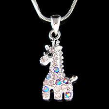 w Swarovski Crystal ~Purple Giraffe~ Safari Animal Girls Pendant Chain Necklace