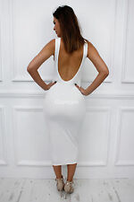 Glamzam Womens Ladies New Summer Low Back Backless Scoop Maxi Long Bodycon Dress