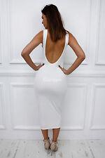 Womens Ladies Low Back Sccop Neck Maxi Stretch Bodycon Party Pencil Dress UK 8 White