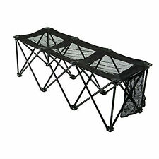 Sportify 3 Seater Foldable Bench with Mesh Seats & Gear Pocket. Black