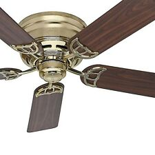 "52"" Hunter Low Profile Ceiling Fan, Bright Brass - Ideal for Low Ceilings"