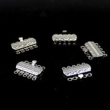 Jewelry Making 5- Strand White Gold Plated Rectangle Box Connector Clasp 5 Pcs