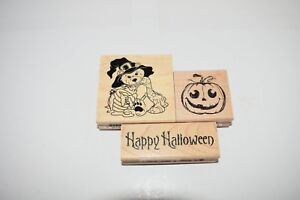 Lot of 3 New Inkadinkado Halloween Wood Mounted Rubber Stamps Trick or Treat #17