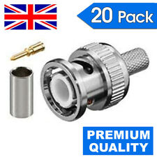 20x BNC 3 in 1 Crimp Male RG59 Connector Adapter Plug Coaxial Coax Cable CCTV UK