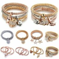 3Pcs Fashion Women Gold/Silver/Rose Gold Bracelets Set Rhinestone Bangle Jewelry