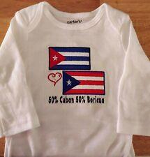 Puerto Rico & Cuba Flags Cuban 50% Boricua 50% Baby Bodysuit Embroidered