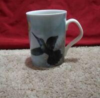 Inhesion Fine Porcelain Coffee Cup/Mug-Hummingbird/Flowers-Blue-Roger Bucklin
