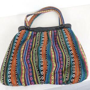 Aztec Tribal Multicolor Stripe Cotton Mix Hippie Boho Hobo Faux Leather Trim Bag