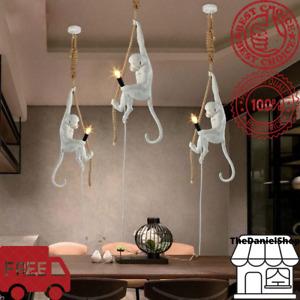 Industrial Monkey Lamp Resin Hemp Rope Chandelier Retro Pendant Ceiling Lights