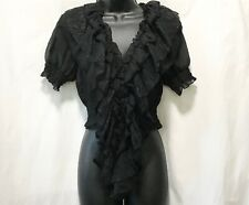 Sexy Sheer Black Lace Ruffle Crop Top Blouse Vest Choli by 7colors L Orig $69