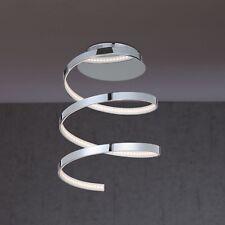 WOFI lámpara LED de techo LAVAL 1 luz cromado espiral Ø25 cm 16 Vatios 1200