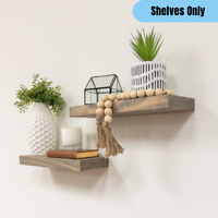 Set of 2 Floating Wall Shelf Rustic Farmhouse Accent Solid Wood Display Storage
