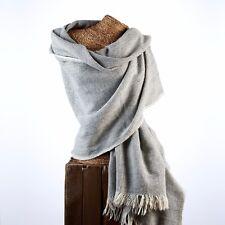 Grand Luxe YAK Laine Châle surdimensionné wrap écharpe Pashmina Couverture Gris & Blanc