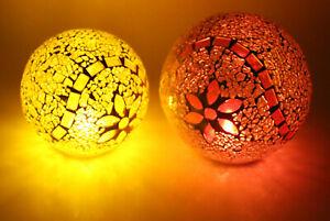ELAMBIA Flammenlose Teelichter mit Mosaikkugeln 6-tlg. Set Sonnengelb Orange