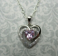 Pink CZ Open Heart Pendant - 925 Sterling Silver - Valentines Day Love Necklace