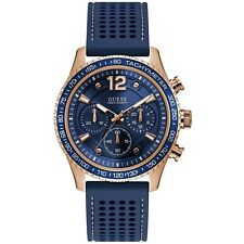 GUESS Men's Fleet 44mm Blue Rubber Band Steel Case Quartz Analog Watch W0971G3