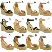 New Womens Stud Espadrille Wedge Summer Sandal Ladies Rose Gold Party Shoes Size