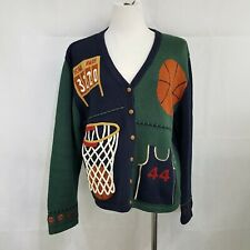 Christopher & Banks I Love Basketball Sweater Cardigan Size L March Madness