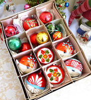 Box 18 Poland Germany Vtg Colorful Indent Glass Xmas Ornament Painted Reflector