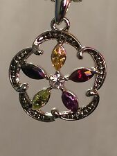 Designer Inspired 18 Carat White Gold Plated Multi-Color Stone Pendant Necklace