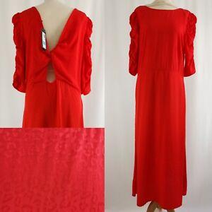 BNWT | M&S Collection | A Line Midi Tea Dress | Sz 14 | Flamenco Red | Knot Back