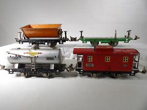 Lionel O Gauge Tin plate Freight cars Tank-Dump-Flatcar-Caboose #804 #807 #831
