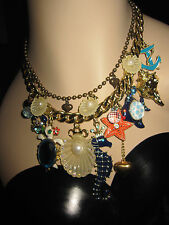 BETSEY JOHNSON SEA EXCURSION SEA HORSE CRAB FISH SHELLS STATEMENT NECKLACE