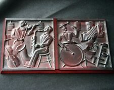 Vintage BOHEMIAN/CZECH Glass Tile Jazz Band Bas Relief